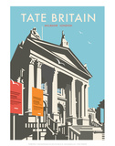 Tate Britain (Blue) - Dave Thompson Contemporary Travel Print Posters by Dave Thompson