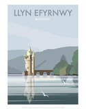 Lake Vynwry (Welsh Language) - Dave Thompson Contemporary Travel Print Posters by Dave Thompson