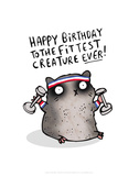 Fittest Creature Ever - Katie Abey Cartoon Print Print by Katie Abey