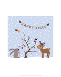 Xmas Tree Friends- Happy Xmas - Wink Designs Contemporary Print Prints by Michelle Lancaster