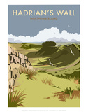 Hadrians Wall - Dave Thompson Contemporary Travel Print Prints by Dave Thompson