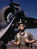 F.W. Hunter, Army Test Pilot, Douglas Aircraft Company Plant at Long Beach, Calif. October 1942 Photo