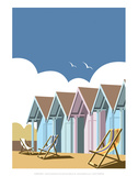 Beach Huts - Dave Thompson Contemporary Travel Print Prints by Dave Thompson