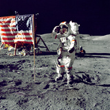 Eugene A. Cernan, Commander, Apollo 17 Salutes the Flag on the Lunar Surface Photo