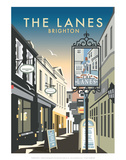 The Lanes, Brighton - Dave Thompson Contemporary Travel Print Prints by Dave Thompson