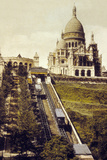 Montmartre, Paris, C. 1905 : the Funicular and the Sacre Coeur Photo