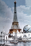 The Eiffel Tower and 'Globe Celeste' at the 1900 World Exposition Photo