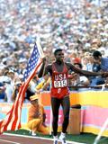 Olympic Games in Los Angeles, 1984 : 100M : Carl Lewis Winner Photo