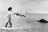 Jackie Kennedy and Daughter Caroline Playing on the Beach July 22, 1963 Posters by Mark Shaw