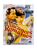 Vacances Romaines Roman Holiday De Williamwyler Avec Audrey Hepburn Et Gregory Peck 1953 Plakater