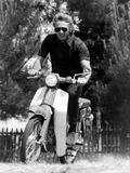 American Actor Steve Mcqueen on a Moto to Prepapre His Film Le Mans, 1969 Photographie
