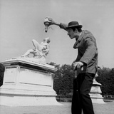 Actor Jose Pantieri Clowning around in Tuileries Gardens, Paris, 1962 Photo