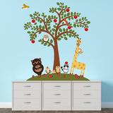 Animal Friends And Apple Tree - Duvar Çıkartması