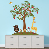 Animal Friends And Apple Tree Vinilo decorativo