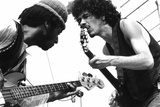 Guitarists Freddy Stone and Carlos Santana During Music and Art Festival in Woodstock, August 1969 Photo