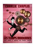 Les Temps Modernes Modern Times De Charleschaplin Avec Charlie Chaplin, 1936 Giclee-tryk i høj kvalitet