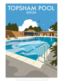 Topsham Pool, Devon - Dave Thompson Contemporary Travel Print Posters by Dave Thompson
