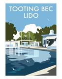 Tooting Bec Lido - Dave Thompson Contemporary Travel Print Prints by Dave Thompson