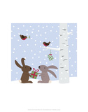 Rabbits in the Snow - Wink Designs Contemporary Print Prints by Michelle Lancaster