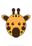 Giraffe - Animaru Cartoon Animal Print Giclee Print by  Animaru