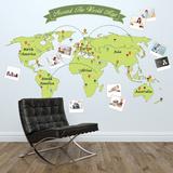 Around The World Map Kalkomania ścienna