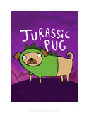 Jurassic Pug - Katie Abey Cartoon Print Print by Katie Abey