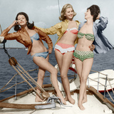 Three Young Women Wearing Bikinis Late 50's - Early 60's Colourized Document Photo