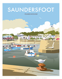 Saundersfoot - Dave Thompson Contemporary Travel Print Prints by Dave Thompson
