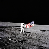"Apollo 12 Astronaut Charles ""Pete"" Conrad Stands Beside the United States Flag Photo"