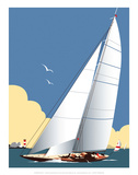 Solent Sailing Blank - Dave Thompson Contemporary Travel Print Prints by Dave Thompson