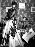 Fashion Designer Oleg Cassini Showing His Drawings to Gene Tierney to Show Her the Clothes in 1941 Photo