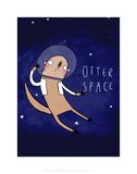Otter Space - Katie Abey Cartoon Print Posters af Katie Abey