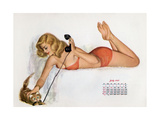 Pin Up with a Cat Playing with Phone Wire, from Esquire Girl Calendar 1950 (July) Poster