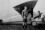 Charles Lindbergh (1902-1974) American Aviator in Front of His Plane Spirit of Saint Louis Photo