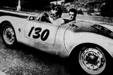 The American Actor James Dean Driving His Porsche Spider 550A with Rolf Wutherlich, in 1955 Foto