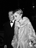 "Salvador Dali and Mia Farrow at the Premiere of the Film ""The Night of the Generals"", Paris Photo"