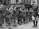 General Charles De Gaulle During Review of Young Women of Free French Forces at Wellington Barracks Photo