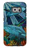 Black Tip Reef Shark - Paper Mosaic Galaxy S6 Edge Case by  Lantern Press