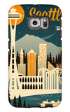 Seattle, Washington - Retro Skyline Galaxy S6 Edge Case by  Lantern Press