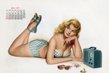 Pin Up Listening Radio, from Esquire Girl Calendar 1950 (June) Posters