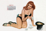 Pin Up Taking Cards in a Top Hat, from Esquire Girl Calendar 1950 (August) Posters