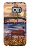 Mackinac Bridge and Sunset, Michigan Galaxy S6 Edge Case by  Lantern Press
