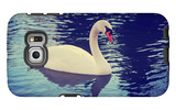 Mute Swan, Cygnus Olor, Single Bird on Dark Water Toned with a Retro Vintage Instagram Filter Effec Galaxy S6 Edge Case by  graphicphoto