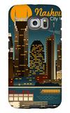 Retro Skyline - Nashville, Tennessee Galaxy S6 Edge Case by  Lantern Press