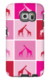 Pink Giraffe Squares Galaxy S6 Edge Case by  Avalisa
