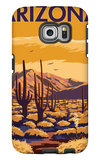 Arizona Desert Scene with Cactus Galaxy S6 Edge Case by  Lantern Press
