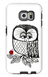 Retro Black and White Owl with Ladybug Galaxy S6 Edge Case