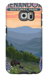 Shenandoah National Park, Virginia - Black Bear and Cubs Spring Flowers Galaxy S6 Edge Case by  Lantern Press