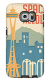 Seattle, Washington - Space Needle Woodblock Galaxy S6 Edge Case by  Lantern Press