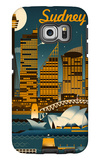 Sydney, Australia - Retro Skyline Galaxy S6 Edge Case by  Lantern Press